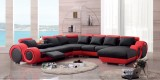 WHITNEY SECTIONAL IN MICROFIBRE LEATHER MATCH WITH CHAISE IN BLACK AND RED