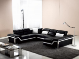 JAXON MICROFIBRE LEATHER MATCH SECTIONAL WITH CHAISE IN BLACK AND WHITE