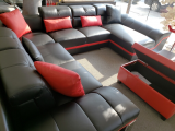 JAXON MICROFIBRE LEATHER MATCH SECTIONAL WITH CHAISE IN BLACK AND RED