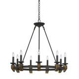 Cal Lighting FX-3517-9 Cruz 9 Light 33 inch Warm Bronze and Wood Chandelier Ceiling Light