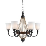 Cal Lighting FX-3563/6 Monticello 6 Light 30 inch Metal and Wood Chandelier Ceiling Light