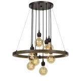 Cal Lighting FX-3687-8 Martos 8 Light 32 inch Pine and Iron Chandelier Ceiling Light