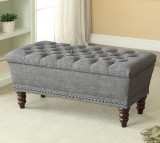 HAMPTON DOUBLE STORAGE BENCH IN GREY