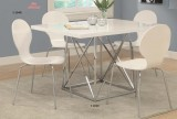 "I 1046 / I 1048 - WHITE GLOSSY / CHROME METAL 36"" X 48"" DINING TABLE / WHITE BENTWOOD CHROME METAL DINING CHAIR - 5PCS SET"
