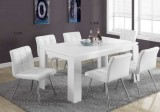I 1056 - White Hollow-Core Dining Table / I 1071 - White Leather Look Chairs