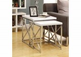 I 3025 - GLOSSY WHITE / CHROME METAL 2PCS NESTING TABLE SET