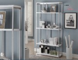 "I 3029 - GLOSSY WHITE / CHROME METAL 72""H BOOKCASE"