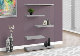 "I 3234 - BOOKCASE - 60""H / GREY CEMENT WITH TEMPERED GLASS"
