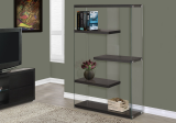 "I 3284 - BOOKCASE - 60""H / CAPPUCCINO WITH TEMPERED GLASS"