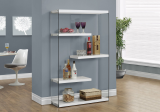 "I 3290 - BOOKCASE - 60""H / GLOSSY WHITE WITH TEMPERED GLASS"
