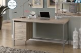 "I 7245 / I 7345 - RECLAIMED-LOOK / SILVER METAL 60""L OFFICE DESK - NATURAL OR DARK TAUPE"