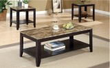 I 7984P - Cappuccino / Marble Top 3 Pcs Promotional Table Set