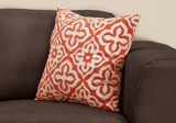 "I 9220 - PILLOW - 18""X 18"" / ORANGE MOTIF DESIGN / 1PC"