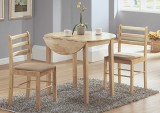 "I 1006 - Natural 3pcs Dining Set with a 36""Dia Drop Leaf Table"