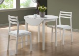 "I 1008 - White 3pcs Dining Set With a 36""Dia Drop Leaf Table"