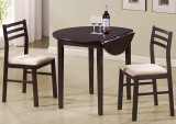 "I 1009 - Cappuccino 3pcs Dining Set with a 36""Dia Drop Leaf Table"