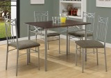 I 1020 - Cappuccino / Silver Metal 5pcs Dining Set