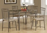 I 1029 - Cappuccino Marble / Bronze Metal 5pcs Dining Set
