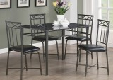 I 1036 - Grey Marble / Charcoal Metal 5pcs Dining Set