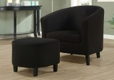 I 8055 - BLACK PADDED MICRO-FIBRE ACCENT CHAIR & OTTOMAN