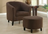 I 8056 - CHOCOLATE BROWN PADDED MICRO-FIBRE CHAIR & OTTOMAN