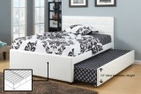 IF-124 DOUBLE PLATFORM BED WITH SINGLE TRUNDLE BED IN WHITE