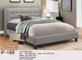 IF - 189 - PLATFORM BED IN GREY LINEN WITH NAILS