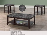 IF-2025 - 3PC COFFEE TABLE SET IN ESPRESSO WITH FAUX GREY MARBLE LOOK TOP