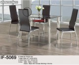 IF-5069 - 5PC DINING SET with 10mm TEMPERED BLACK TRIM GLASS WITH BLACK CHAIRS