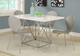 "I 1047 - GREY BENTWOOD / CHROME METAL 34""H DINING CHAIR"