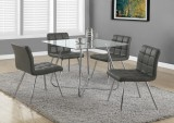 "I 1072 - GREY LEATHER-LOOK / CHROME METAL 32""H DINING CHAIR"