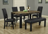 "I 1620 - DISTRESSED RECLAIMED-LOOK / BLACK 38""X 64"" DINING TABLE / I 1621 - BLACK LEATHER-LOOK 40"" SIDE CHAIR / I 1622 - BLACK LEATHER-LOOK 45""L BENCH"