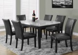 I 1974 - GREY LAQUERED MARBLE-LOOK 38″X 64″ DINING TABLE / I 1975 - BLACK LEATHER-LOOK 38″H PARSON CHAIR