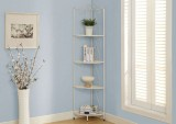 "I 2101 - WHITE HAMMERED METAL 70""H CORNER DISPLAY ETAGERE"