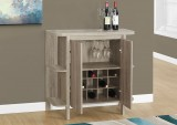 "I 2323 - HOME BAR - 36""H /DARK TAUPE WITH BOTTLE AND GLASS STORAGE"