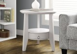 "I 2492 - WHITE 23""DIA ACCENT TABLE WITH 1 DRAWER"