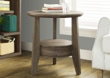 "I 2493 - DARK TAUPE RECLAIMED-LOOK 23""DIA ACCENT TABLE / 1 DRAWER"