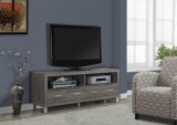 I 2517 - DARK TAUPE RECLAIMED-LOOK 60″L TV CONSOLE WITH 4 DRAWERS