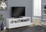 I 2518 - WHITE HOLLOW-CORE 60″L TV CONSOLE WITH 4 DRAWERS
