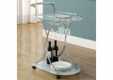 I 3016 - CHROME METAL / WHITE TEMPERED GLASS SERVER ON CASTORS