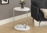I 3056 - WHITE / CHROME METAL ACCENT TABLE