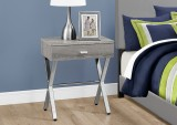 I 3263 - ACCENT TABLE – DARK TAUPE / CHROME METAL NIGHT STAND