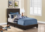 I 5910T - BED FRAME – TWIN SIZE / DARK BROWN LEATHER-LOOK