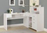 I 7028 - WHITE HOLLOW-CORE L SHAPED HOME OFFICE DESK