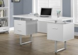 I 7081 - WHITE HOLLOW-CORE / SILVER METAL 60″L OFFICE DESK