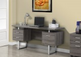 I 7082 - DARK TAUPE RECLAIMED-LOOK / SILVER METAL 60″L OFFICE DESK