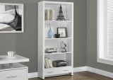 I 7086 - WHITE HOLLOW-CORE 71″H BOOKCASE WITH A DRAWER