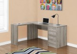 I 7138 - COMPUTER DESK – DARK TAUPE CORNER WITH TEMPERED GLASS