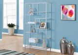"I 7158 - BOOKCASE – 72""H / SILVER METAL WITH TEMPERED GLASS"