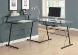 I 7172 - BLACK METAL L SHAPED COMPUTER DESK WITH TEMPERED GLASS